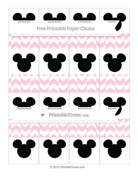 Free Pink Herringbone Pattern Mickey Mouse Paper Chains