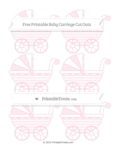 Free Pink Herringbone Pattern Small Baby Carriage Cut Outs