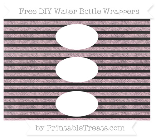 Free Pink Horizontal Striped Chalk Style DIY Water Bottle Wrappers