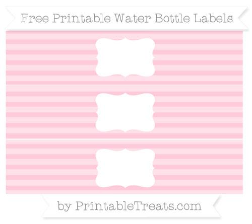 Free Pink Horizontal Striped Water Bottle Labels