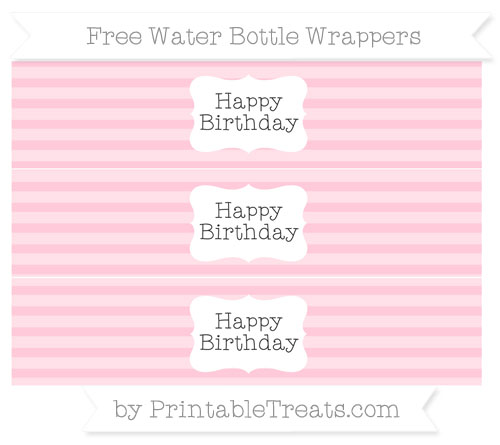 Free Pink Horizontal Striped Happy Birhtday Water Bottle Wrappers