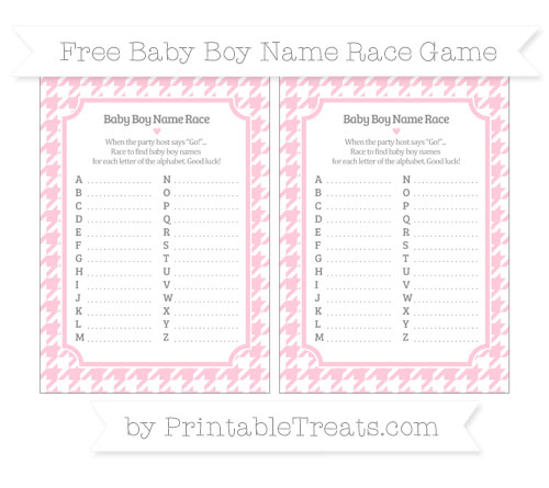 Free Pink Houndstooth Pattern Baby Boy Name Race Game