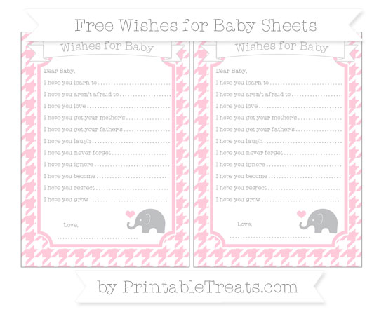 Free Pink Houndstooth Pattern Baby Elephant Wishes for Baby Sheets