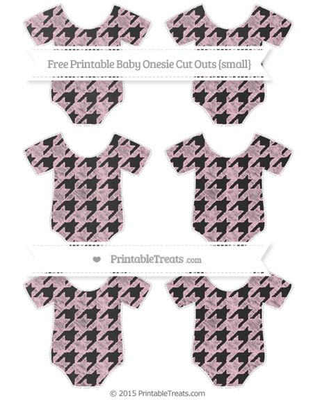 Free Pink Houndstooth Pattern Chalk Style Small Baby Onesie Cut Outs