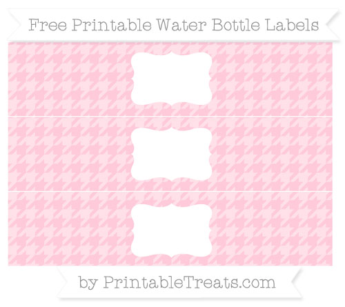 Free Pink Houndstooth Pattern Water Bottle Labels