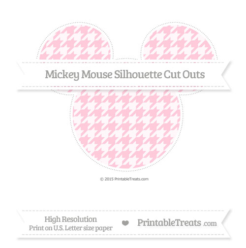 Free Pink Houndstooth Pattern Extra Large Mickey Mouse Silhouette Cut Outs