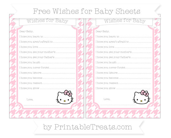 Free Pink Houndstooth Pattern Hello Kitty Wishes for Baby Sheets