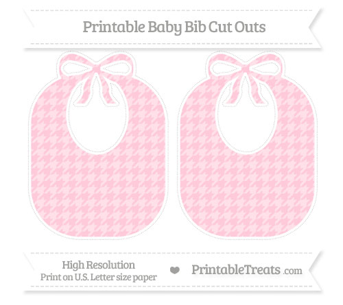 Free Pink Houndstooth Pattern Large Baby Bib Cut Outs