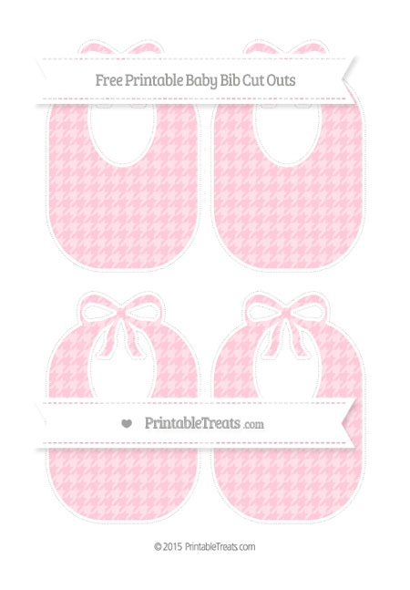 Free Pink Houndstooth Pattern Medium Baby Bib Cut Outs