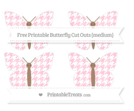 Free Pink Houndstooth Pattern Medium Butterfly Cut Outs