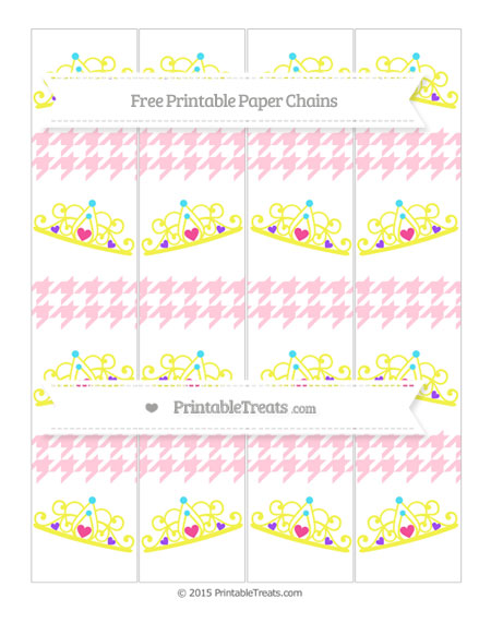 Free Pink Houndstooth Pattern Princess Tiara Paper Chains