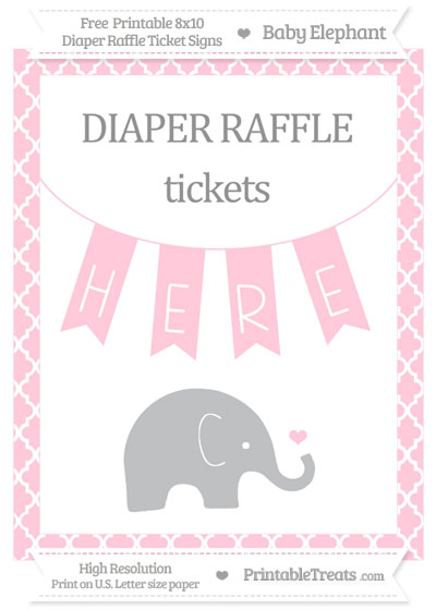 Free Pink Moroccan Tile Baby Elephant 8x10 Diaper Raffle Ticket Sign