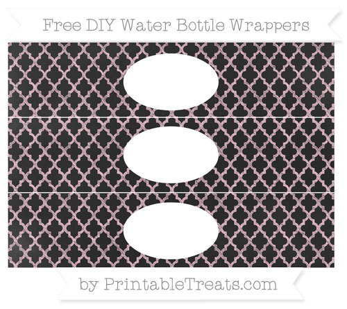 Free Pink Moroccan Tile Chalk Style DIY Water Bottle Wrappers