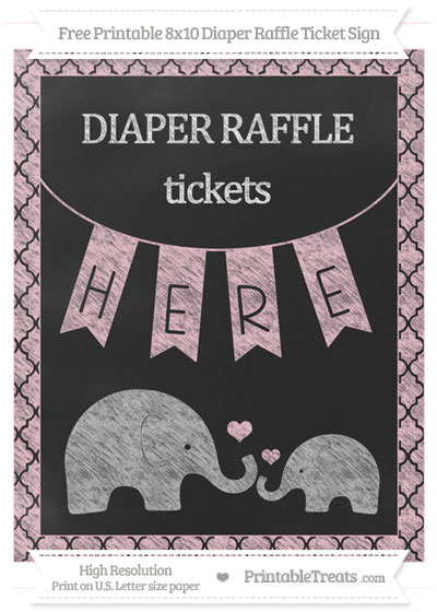 Free Pink Moroccan Tile Chalk Style Elephant 8x10 Diaper Raffle Ticket Sign