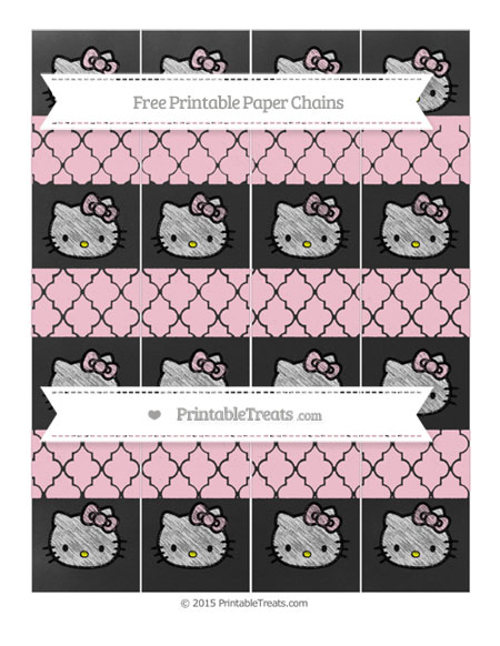 Free Pink Moroccan Tile Chalk Style Hello Kitty Paper Chains