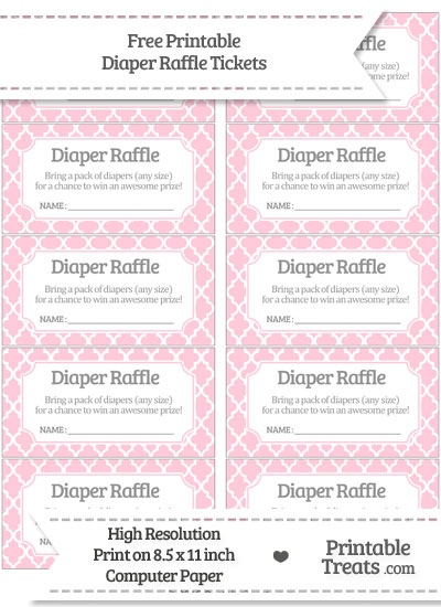 Free Pink Moroccan Tile Diaper Raffle Tickets