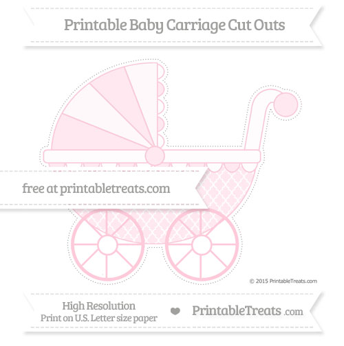 Free Pink Moroccan Tile Extra Large Baby Carriage Cut Outs