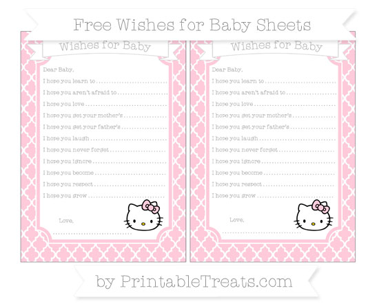 Free Pink Moroccan Tile Hello Kitty Wishes for Baby Sheets