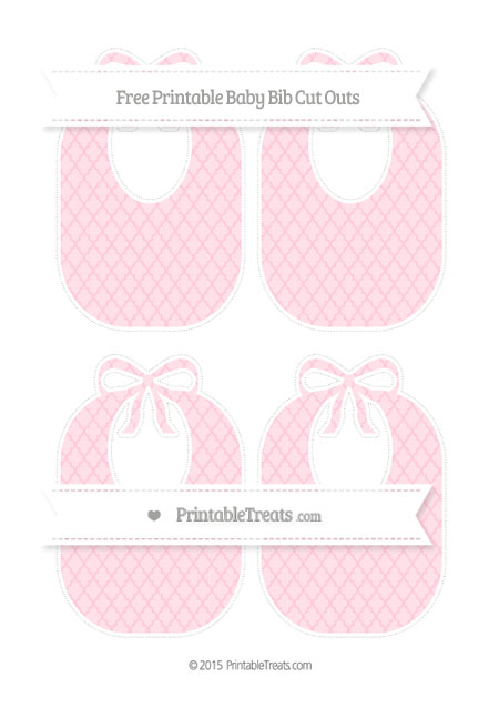 Free Pink Moroccan Tile Medium Baby Bib Cut Outs