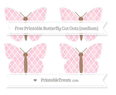 Free Pink Moroccan Tile Medium Butterfly Cut Outs