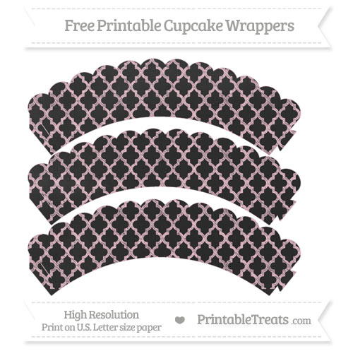Free Pink Moroccan Tile Pattern Chalk Style Scalloped Cupcake Wrappers