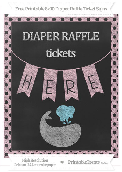 Free Pink Polka Dot Chalk Style Whale 8x10 Diaper Raffle Ticket Sign