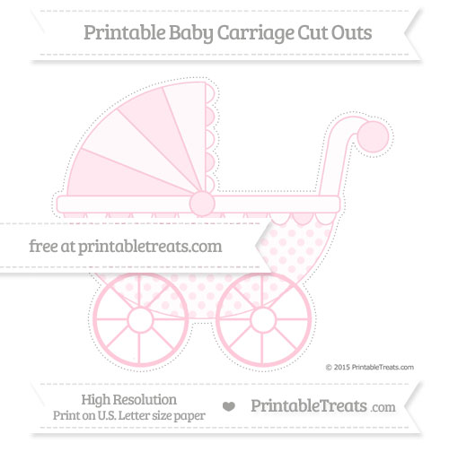 Free Pink Polka Dot Extra Large Baby Carriage Cut Outs
