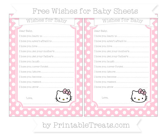 Free Pink Polka Dot Hello Kitty Wishes for Baby Sheets