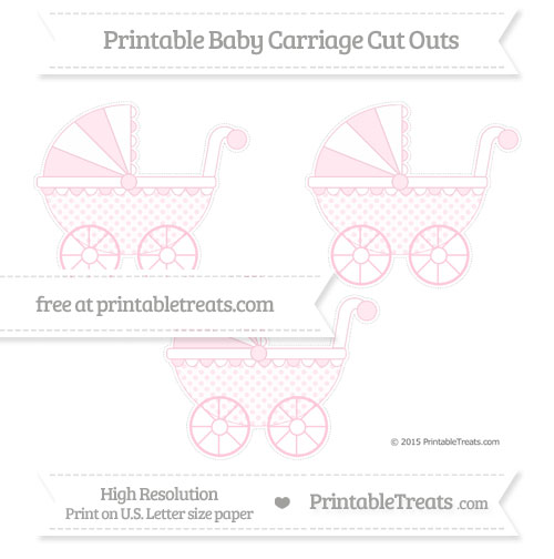 Free Pink Polka Dot Medium Baby Carriage Cut Outs