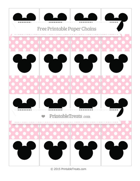 Free Pink Polka Dot Mickey Mouse Paper Chains