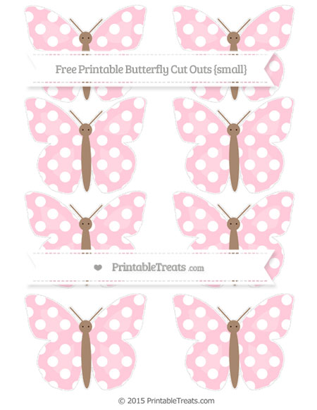 Free Pink Polka Dot Small Butterfly Cut Outs