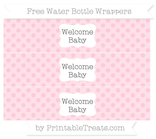 Free Pink Polka Dot Welcome Baby Water Bottle Wrappers