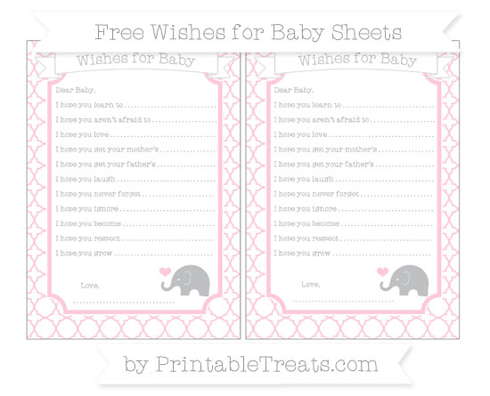Free Pink Quatrefoil Pattern Baby Elephant Wishes for Baby Sheets