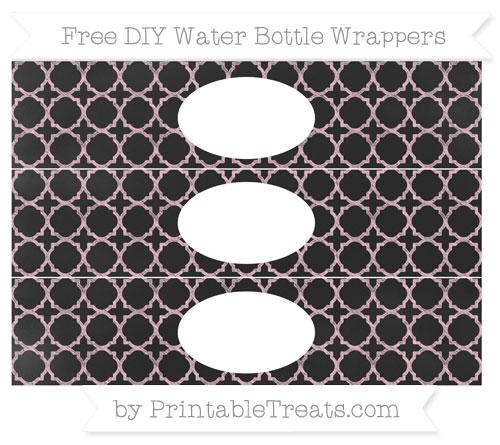 Free Pink Quatrefoil Pattern Chalk Style DIY Water Bottle Wrappers