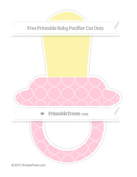 Free Pink Quatrefoil Pattern Extra Large Baby Pacifier Cut Outs