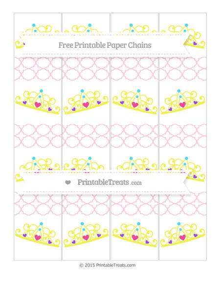 Free Pink Quatrefoil Pattern Princess Tiara Paper Chains