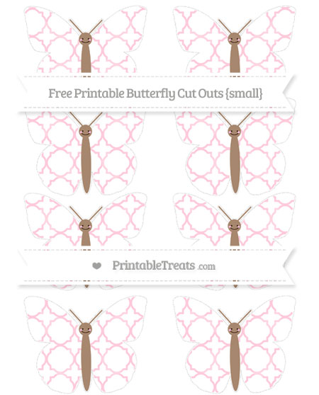 Free Pink Quatrefoil Pattern Small Smiley Butterfly Cut Outs