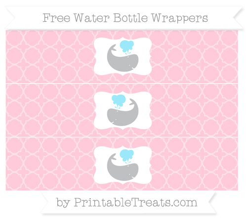 Free Pink Quatrefoil Pattern Whale Water Bottle Wrappers