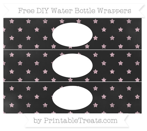 Free Pink Star Pattern Chalk Style DIY Water Bottle Wrappers