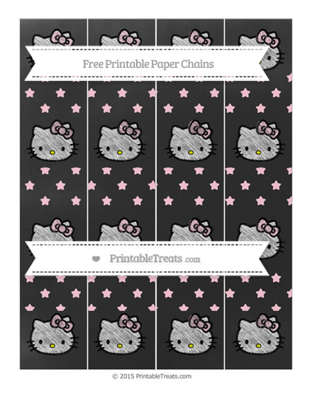 Free Pink Star Pattern Chalk Style Hello Kitty Paper Chains