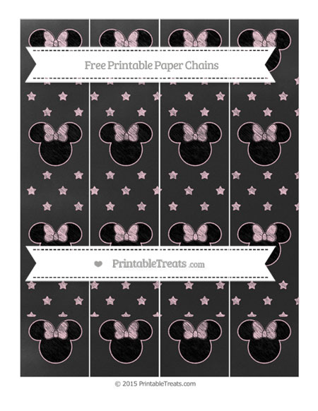 Free Pink Star Pattern Chalk Style Minnie Mouse Paper Chains