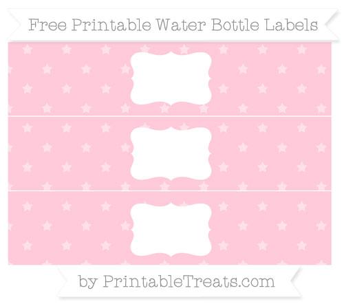 Free Pink Star Pattern Water Bottle Labels