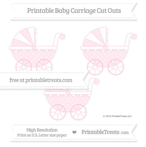 Free Pink Star Pattern Medium Baby Carriage Cut Outs