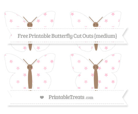 Free Pink Star Pattern Medium Butterfly Cut Outs