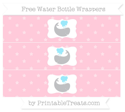 Free Pink Star Pattern Whale Water Bottle Wrappers