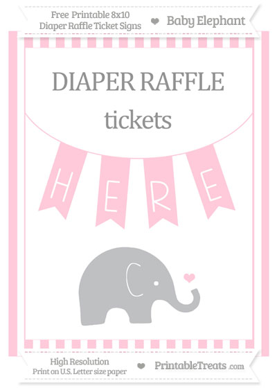 Free Pink Striped Baby Elephant 8x10 Diaper Raffle Ticket Sign