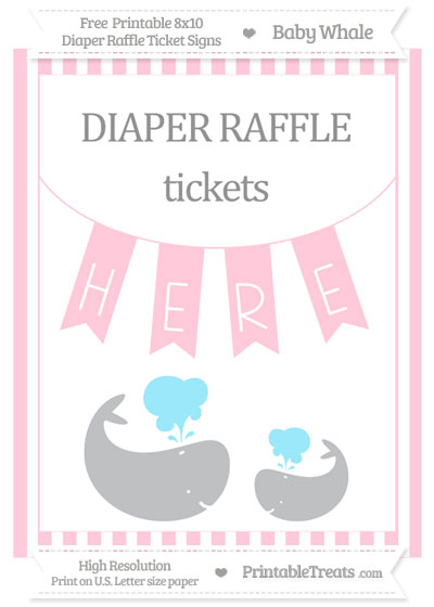 Free Pink Striped Baby Whale 8x10 Diaper Raffle Ticket Sign
