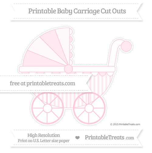 Free Pink Striped Extra Large Baby Carriage Cut Outs