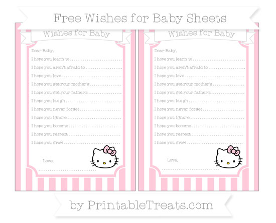 Free Pink Striped Hello Kitty Wishes for Baby Sheets