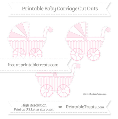 Free Pink Striped Medium Baby Carriage Cut Outs